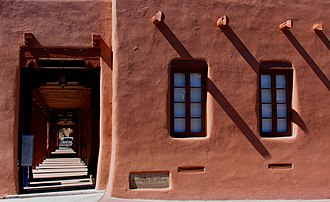Thermal mass - An adobe walled building in Santa Fe, New Mexico