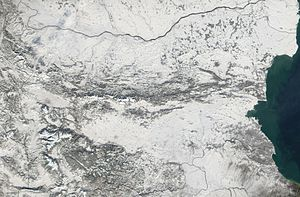 Outline of Bulgaria - An enlargeable satellite image of Bulgaria