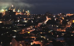 View of the town of Sauda at night