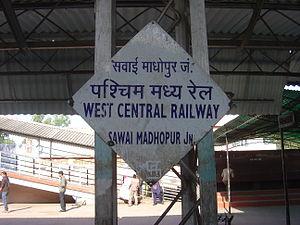 Sawai Madhopur Junction railway station - Image: Sawai Madhopur Junction platformboard
