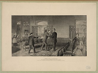 Baltimore and Potomac Railroad Station - Contemporary illustration of the assassination