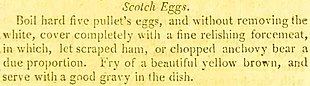 Recipe for scotch eggs, using five pullet eggs covered in forcemeat and fried until brown; served hot with gravy