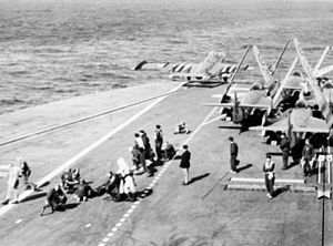Sea Venom 809 NAS launching from HMS Albion (R07) Suez 1956.jpg