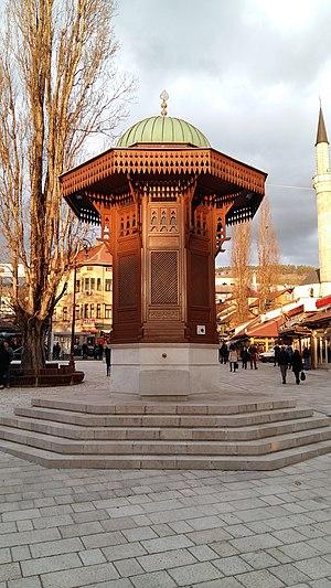 Sebilj in Sarajevo - Sebilj in 2016 after main square reconstruction in 2015.