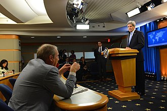 Dialogue - John Kerry listens to a Question of reporter Matt Lee, after giving remarks on World Press Freedom Day (3rd May 2016)