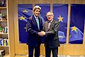 Secretary Kerry Shakes Hands With European Commission President Juncker in Brussels, Belgium (25930329842).jpg