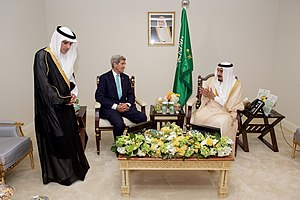 Saudi Arabian-led intervention in Yemen - King Salman of Saudi Arabia and Saudi Foreign Minister Adel al-Jubeir meet with U.S. Secretary of State John Kerry in September 2015