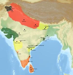 Early Buddhist schools - Map of the major geographical centers of Sectarian Buddhist schools in India. Sarvāstivāda (Red), Theravāda (Orange), Mahāsāṃghika (Yellow), Pudgalavāda (Green), Dharmaguptaka (Gray).