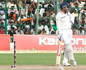 Virender Sehwag - Sehwag waits at the bowler's end.