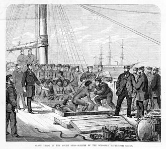 Blackbirding - In 1869 HMS Rosario seized the blackbirding schooner Daphne and freed its passengers.
