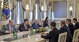 Bob Menendez - Menendez with Ukrainian President Petro Poroshenko, Kiev, Ukraine, September 2014