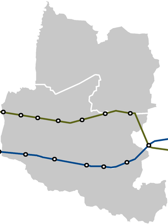Bucheon - Map of Seoul Metro lines passing through Bucheon over its municipal districts
