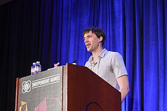 Marc Flury presents on the game's development at the 2017 Game Developers Conference Seven Years in Alpha- 'Thumper' Postmortem, Marc Flury (Drool) at GDC 2017 (32314176494).jpg