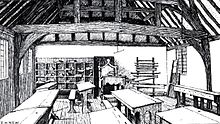 Drawing of the Stratford grammar school, showing the interior of a classroom with student desks and benches