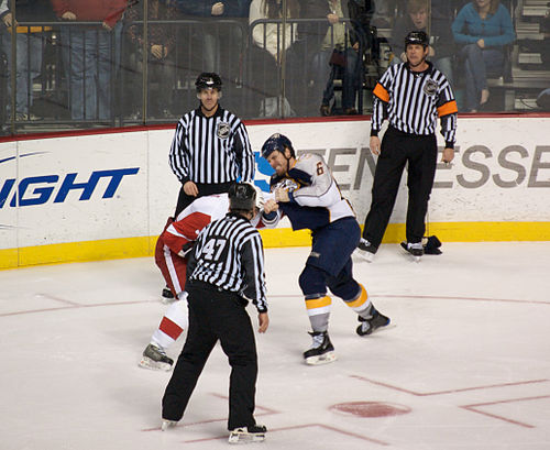 Weber (right) in a fight with Andreas Lilja (left) of the Detroit Red Wings during the 2008-09 season. Shea Weber fight.jpg