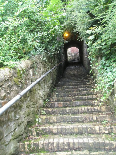 File:Short tunnel midway up the steps to St Luke's, Ironbridge - geograph.org.uk - 1463270.jpg
