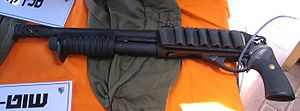 Sawed-off shotgun - This short-barrelled shotgun was manufactured with a reduced-length barrel, rather than being modified after its manufacture.