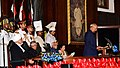 Shri Ram Nath Kovind addressing after taking oath of the office of the President of India, at a swearing-in ceremony in the central hall of Parliament, in New Delhi.jpg