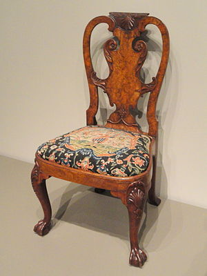 Queen Anne style furniture - Walnut and burr walnut veneer side chair attributed to Giles Grendey, London, c. 1740 (Art Institute of Chicago)