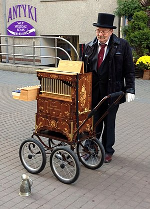 Barrel organ - A barrel organ player in Katowice, Poland
