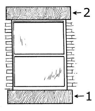 Window sill - 1) Sill; 2) lintel.