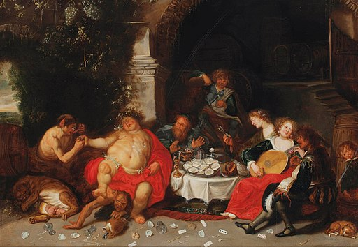 Simon de Vos - A bacchanal in a grotto
