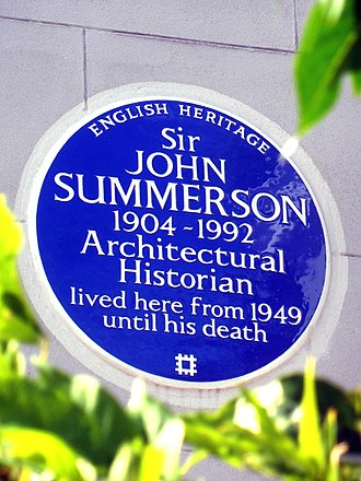 John Summerson - English Heritage blue plaque at 1 Eton Villas, Chalk Farm