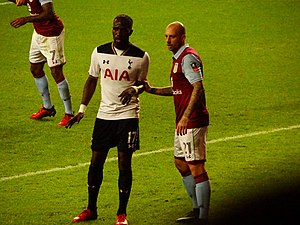 Alan Hutton - Hutton (right) holds Moussa Sissoko in an FA Cup tie with former club Spurs, 2017