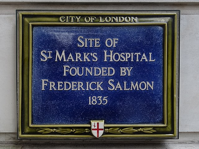 Frederick Salmon blue plaque - Site of St Mark's Hospital founded by Frederick Salmon 1835