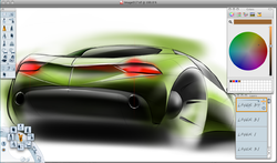 Autodesk SketchBook Pro 2009 running on Apple Mac OS X Microsoft Computer