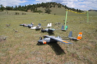 """First-person view (radio control) - An assortment of FPV aircraft of the popular """"Sky Hunter"""" design at an FPV meetup in Colorado in July 2013"""