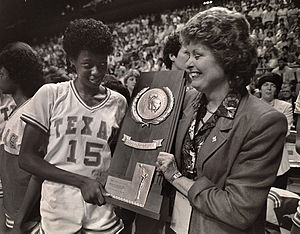 Texas Longhorns women's basketball - Annette Smith and Jody Conradt with the National Championship tropy