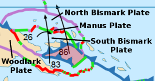 A minor tectonic plate to the northwest of the Solomon Islands in the south Pacific Ocean