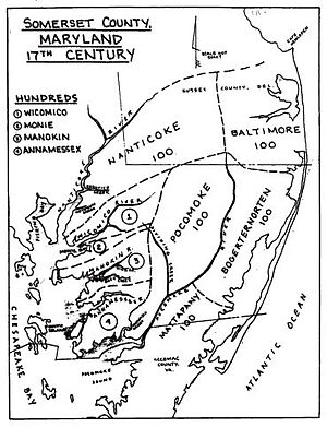 Somerset County, Maryland - Map of The Hundreds of Somerset County, Maryland as of 1669. Note the boundaries overlap with Sussex, Delaware and Accomac counties, Virginia.
