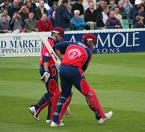 Somerset County Cricket Club - Somerset opening batsmen Matthew Wood and Marcus Trescothick walking out to meet Gloucestershire CCC, 27 June 2007