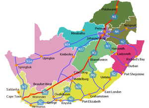 English: Map of South Africa's national roads ...