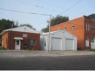 South English, Iowa - The Post Office (and Odd Fellows Hall) in South English as they appeared in August of 2013.