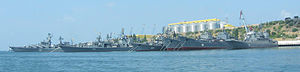 Black Sea Fleet - Some major ships (including the flagship) of the Soviet and Russian Black Sea Fleet in Sevastopol, August 2007