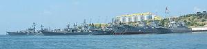Black Sea Fleet - Some major ships (including the flagship) of the Soviet and Russian Black Sea Fleet in Sevastopol, August 2007
