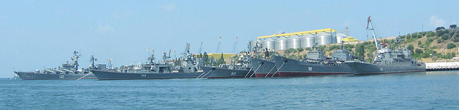 Some major ships (including the flagship) of the Soviet and Russian Black Sea Fleet in Sevastopol, August 2007 Soviet and Russian Black Sea Fleet.jpg