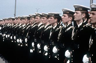 Soviet Navy - Soviet Navy enlisted personnel stand at attention (1982).