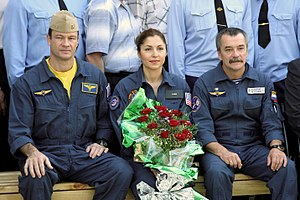 Anousheh Ansari - Crew of Soyuz TMA-9: Astronaut Michael E. Lopez-Alegria (left), Anousheh Ansari (middle) and cosmonaut Mikhail Tyurin at the Cosmonaut Hotel in Baikonur, Kazakhstan on Sept. 5, 2006