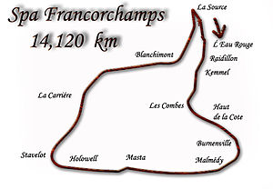 1970 Formula One season - Map of the Belgian track. This was the last race to use the Spa-Francorchamps in Formula 1.