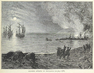 Raid on Mount's Bay - The Spanish attack Penzance from the book British Battles on Land and Sea, by James Grant