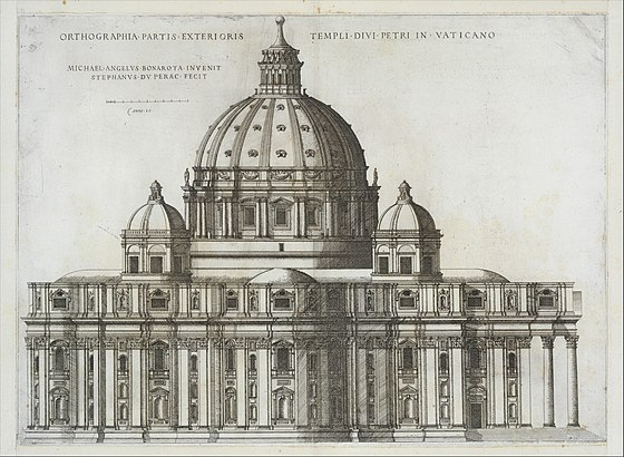 The engraving by Stefan du Perac was published in 1569, five years after the death of Michelangelo Speculum Romanae Magnificentiae- Elevation Showing the Exterior of Saint Peter's Basilica from the South as Conceived by Michelagelo (Published in 1569) MET DT203424.jpg