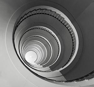 Nebotičnik - Art déco spiral stairs.