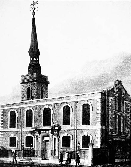 St James's Church has stood on Piccadilly since 1684, and was designed by Sir Christopher Wren St James's South and east fronts 1814 edited.jpg