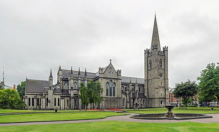 St Patrick's Cathedral, Dublin, is the national Cathedral of the Church of Ireland. St Patrick's Cathedral Exterior, Dublin, Ireland - Diliff.jpg