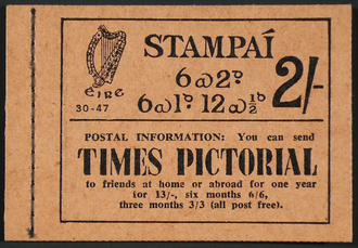 Postage stamp booklet - The cover of an Irish 1947 stamp booklet contained 2 shillings worth of stamps showing the serial number and year of issue 30-47 with advertising.