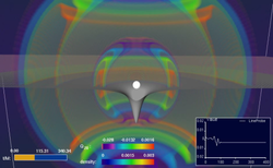 Simulation based on the equations of general relativity: a star collapsing to form a black hole while emitting gravitational waves
